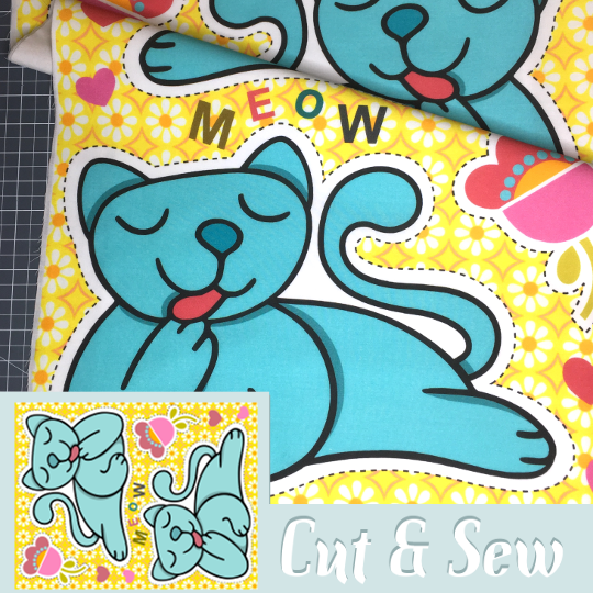 cut'n'sew meow | Quilting Weight Cotton, Fat Quarter